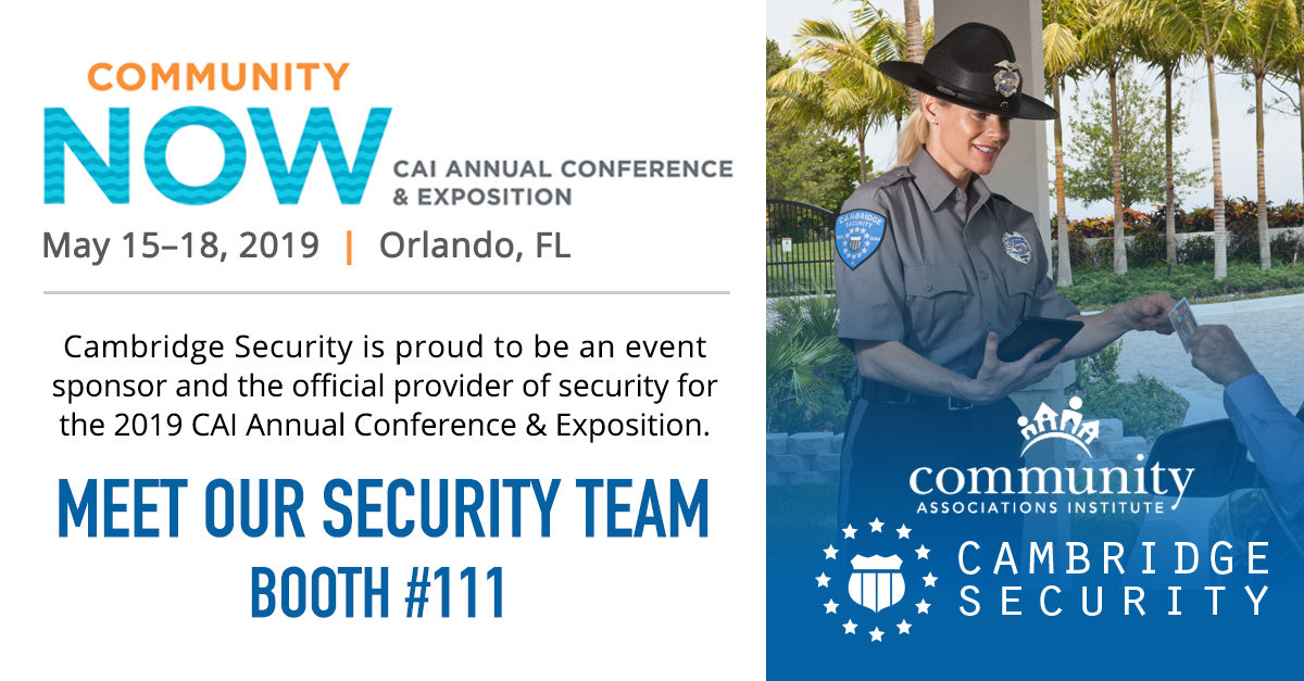 Cambridge Security at the 2019 CAI Annual Conference and Exposition, Orlando, Fl